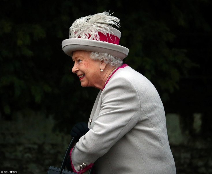 The Queen today in Sandringham after she arrived at St Mary Magdalene Church this morning