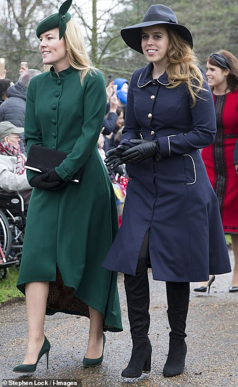 Also attending the service today wasAutumn Phillips , the wife of Peter Phillips, the son of Princess Anne, and Princess Beatrice