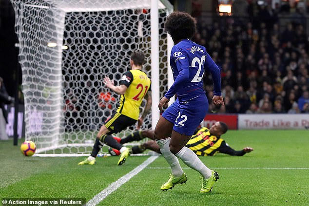 As Willian looked to find the goal from a tight angle, Kabasele put his body on the line to stop it