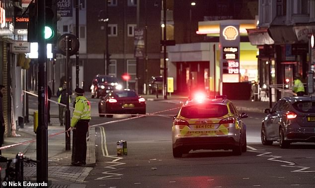 Officers rushed to the scene and a total of 39 people were arrested at a house near the scene of the attack on suspicion of attempted murder