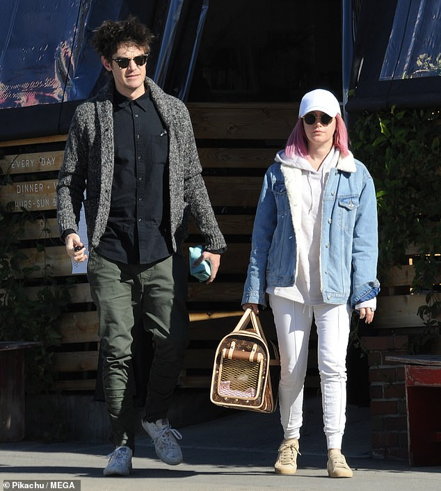 Brunch break: Ashley Tisdale and her husband Christopher French were spotted leaving All Time cafe in the Los Feliz district of Los Angeles on Sunday with their fur baby Maui in a carrier