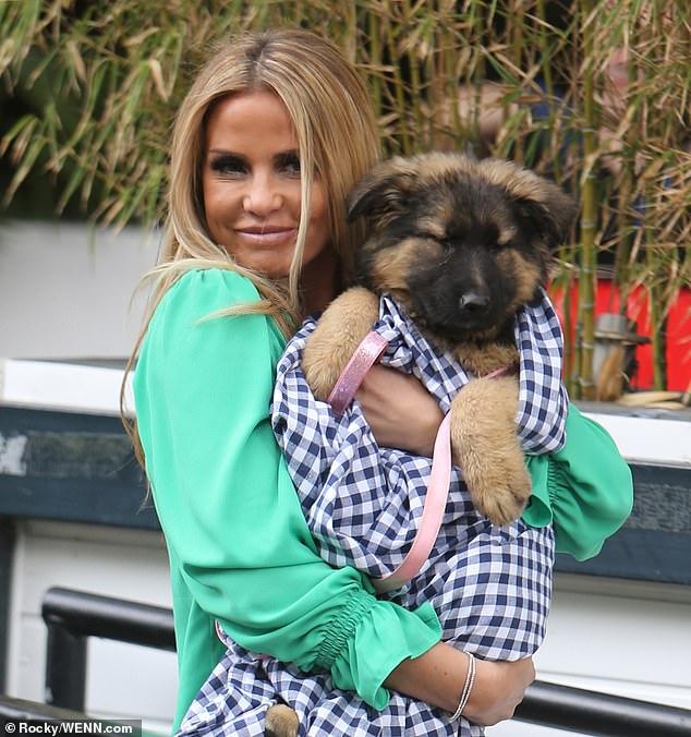 """Verlust: Katies Kauf kommt knapp ein Jahr nach dem Tod ihres geliebten Hundes Queenie durch einen """"herzlosen Auslieferungsfahrer in Hit & Run"""" (zusammen im Jahr 2016)"""