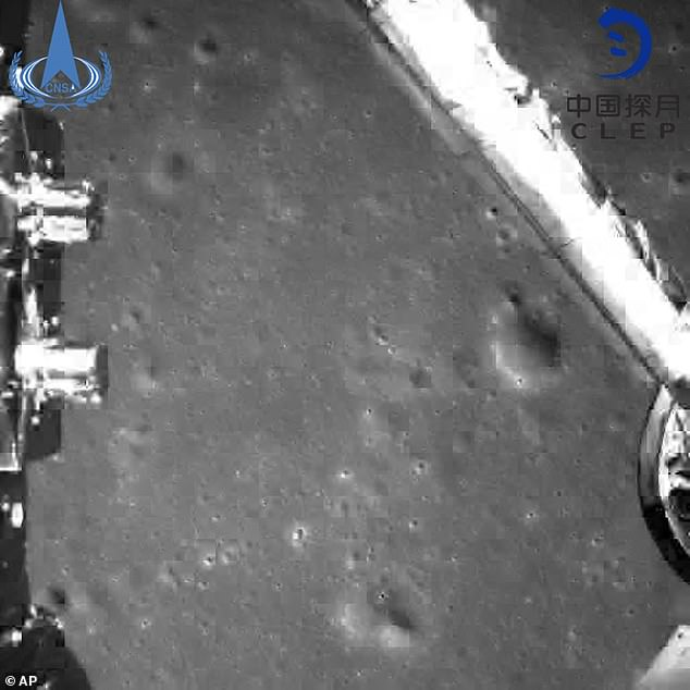 A photograph taken from the Chang'e-4 probe during its landing process, as it became the first rover to ever reach the surface of the dark side of the moon