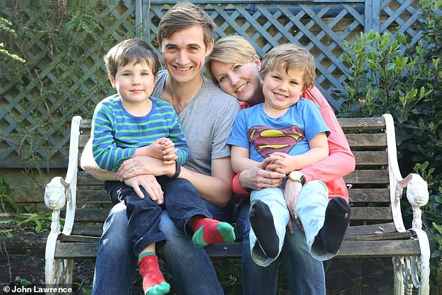 Cambridge University engineering graduate Billy Boyle poured his entire heart into saving thousands from the disease following the death of his wife Kate Gross (pictured with her, and their sons Oscar and Isaac)
