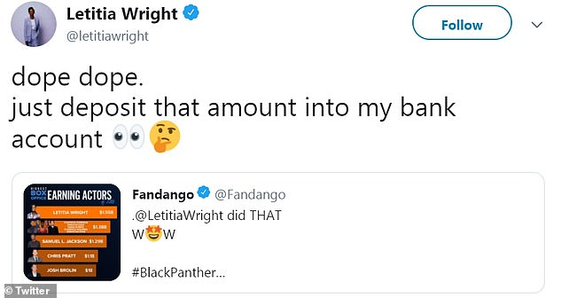 Box office jokes:After seeing Fandango's initial tweet, Wright had some fun with her new title, stating, 'dope dope. just deposit that amount into my bank account