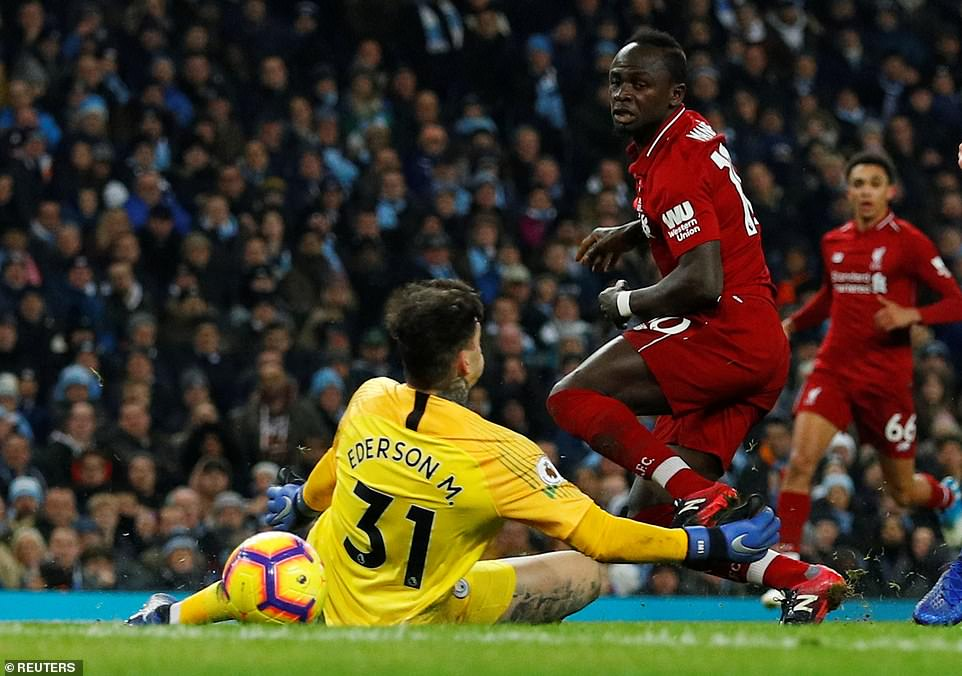 The Senegal international managed to poke the ball past the Manchester City goalkeeper, Ederson, but he hit the post