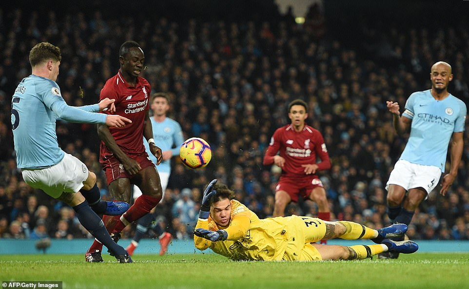 The ball then rebounded off the post and as John Stones tried to clear the ball he kicked it against his own goalkeeper