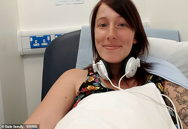 Natasha Sale (pictured in hospital during her treatment) was first diagnosed aged 28 and campaigned for the smear testing age to be lowered