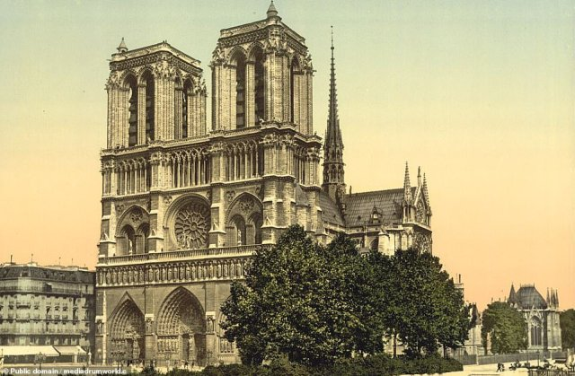 Notre Dame, Paris. Work on the Catholic cathedral began in 1163 but it was not fully completed for almost two centuries, later serving as the venue for Napoleon's coronation after he became Emperor of the French in 1804. After World War II there were major efforts to clean the cathedral, returning it to its original lighter colour
