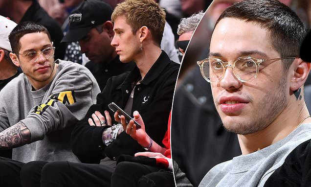 Image result for pete davidson machine gun kelly hanging out basketball game