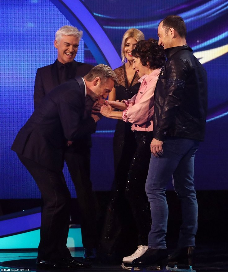 Fan-boying: Christopher couldn't help but gush over Didi, planting a kiss on the Hollywood star's hand - despite awarding her just a 4