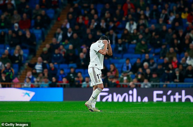 The Real Madrid midfielder could not hide his despair after being sent off in the second-half