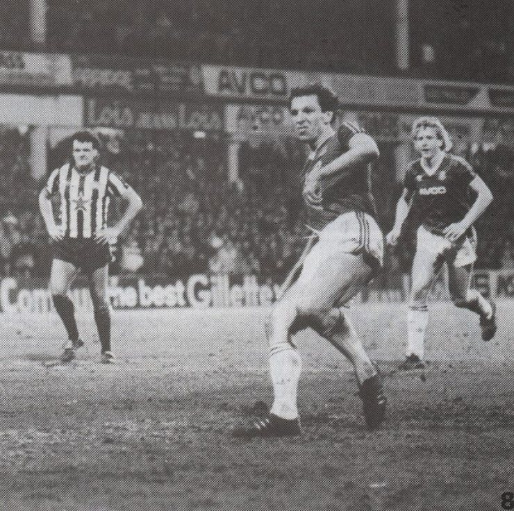 Alvin Martin scores his third goal of the day against a third different Newcastle goalkeeper