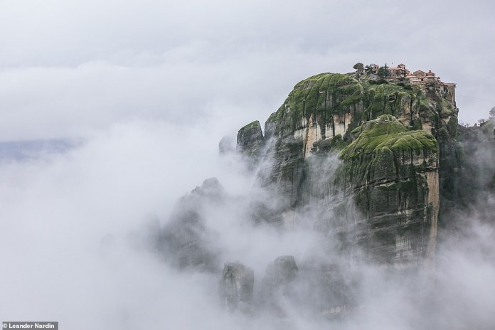 During the journey through Greece, the family came across the Monastery of Grand Meteora, where Leander captured this mystical image while the peek was surrounded by clouds