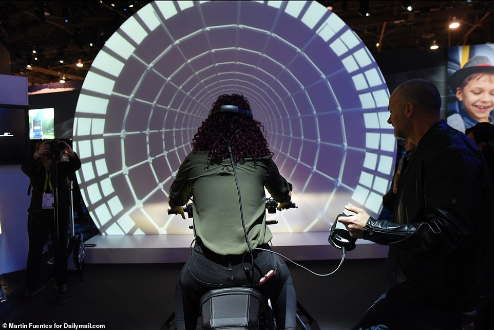 'Because it's all-electric, it's twist-and-go,' Paul James, Director of Motorcycle Product Planning at Harley-Davidson, told Dailymail.com on the show floor at the Las Vegas Convention Center. 'There's no transmission, there are no shifters, no clutch – it's very easy to ride'