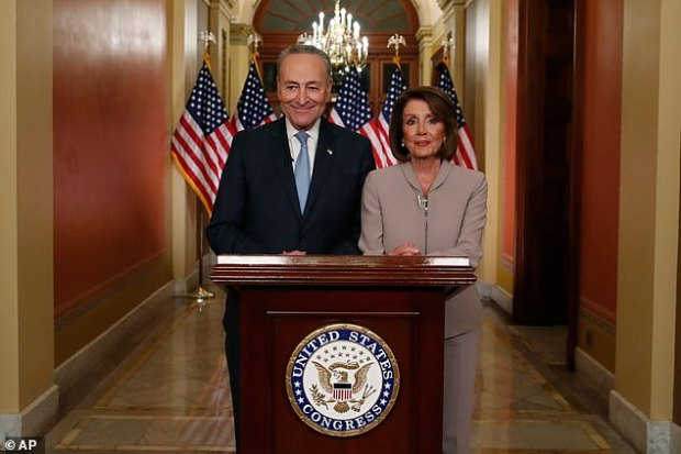 House Speaker Nancy Pelosi (right) and Senate Minority Leader Chuck Schumer delivered the Democrats' response after Trump spoke, framing the conflict as Trump's personal, uninformed crusade as they insisted they won't bend and agree to his terms