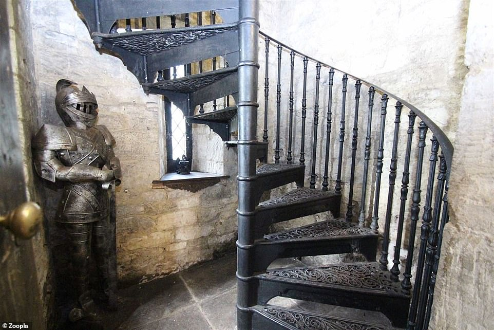 There is a spiral staircase that leads up to the first floor of the castle in the Wiltshire village of West Ashton