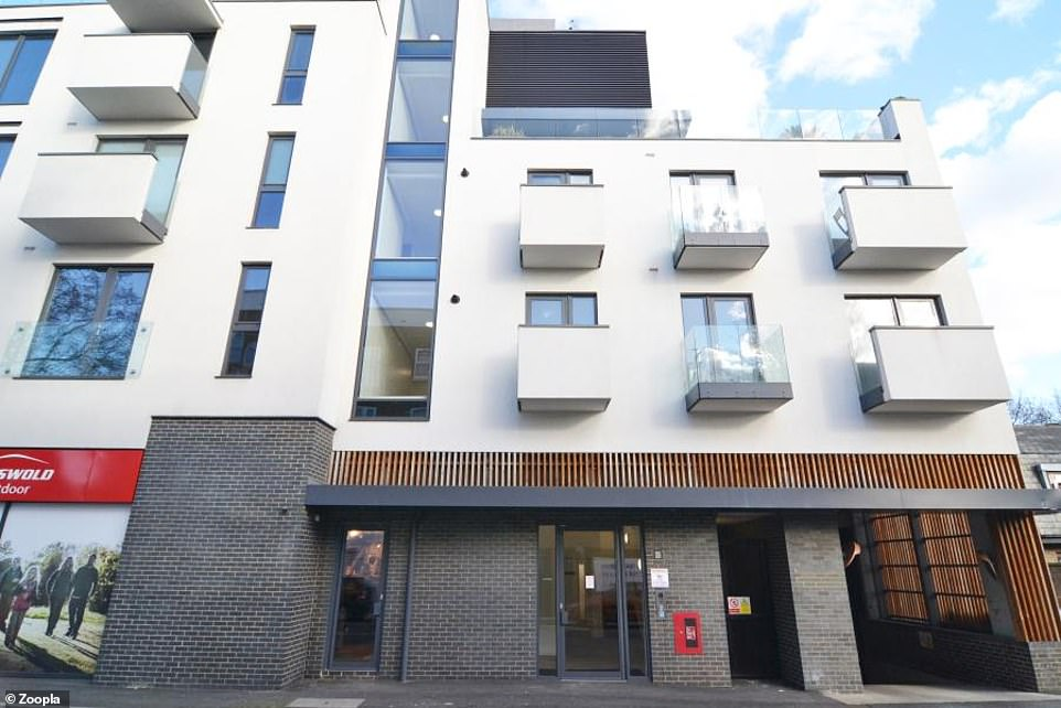The modern two-bedroom flat is on the second floor of a block of flats just off Chiswick High Road, in West London