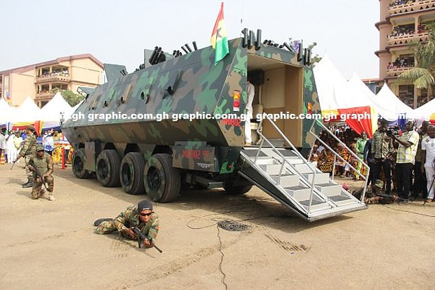Belly of the beast: The rear door of the tank folds out and becomes a set of stairs, which allowed guests at the event in Accra to have a look inside