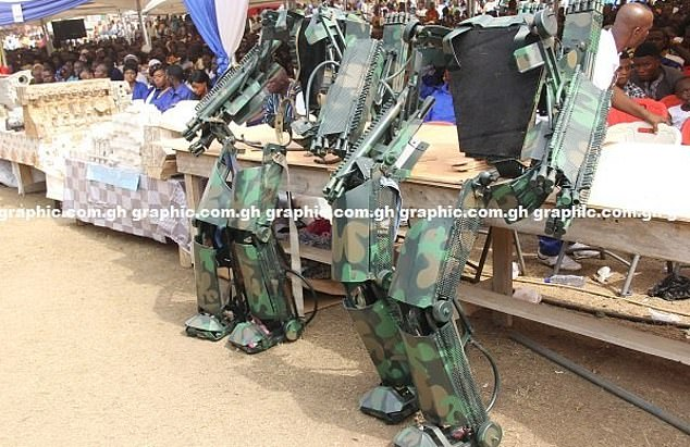 Empty suits: The military equipment after the men wearing them had taken them off, showing the heavy equipment on the legs