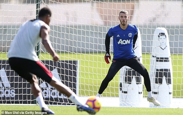 De Gea steadies himself to make a save as Rashford unleashes a shot at goal on Wednesday