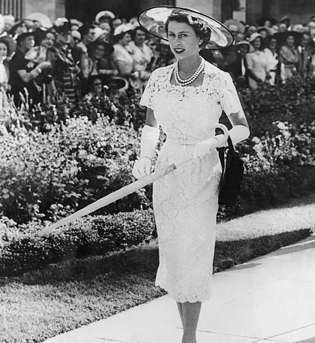 This dress, worn by the Queen on a visit to Sydney, Australia, in 1954, was a particular favourite of Amies and his team, thanks to the way it emphasised her fashion model proportions