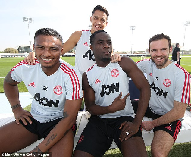 Antonio Valencia, Alexis Sanchez, Eric Bailly and Juan Mata during training on Wednesday