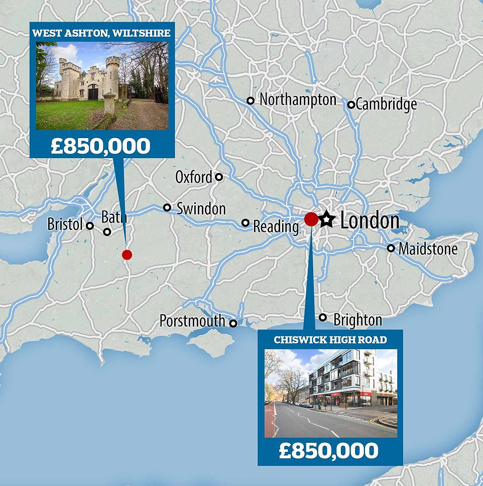 The two properties have the same asking price but are in different parts of the country