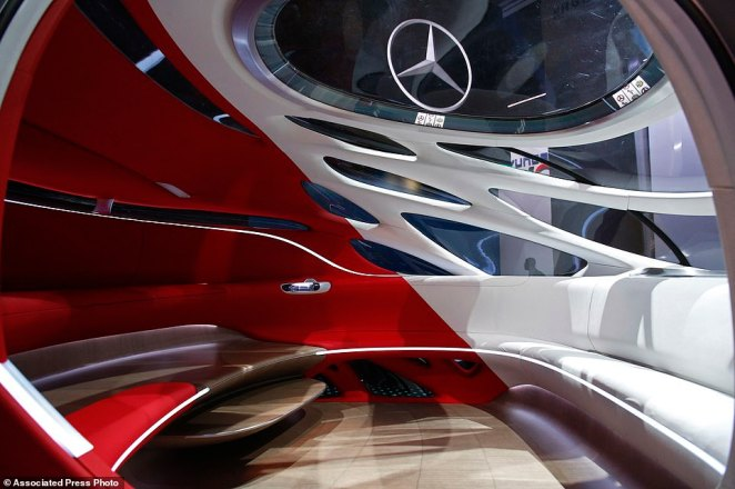 The Mercedes-Benz Vision Urbanetic is on display at the Mercedes-Benz booth at CES. The seats are arranged like a circle, including a bench in the back that's two levels to encourage a communal atmosphere. Mercedes-Benz unveils the Vision URBANETIC concept vehicle