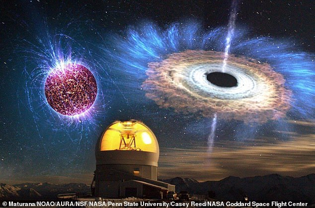 The above image shows a long exposure of the SOAR telescope with overlaid illustrations of a highly magnetised neutron star (top left) and an accreting black hole (top right).Research has now revealed it was the birth of a new black hole or neutron star, caught at the exact moment of its creation - but experts are unsure which one it is