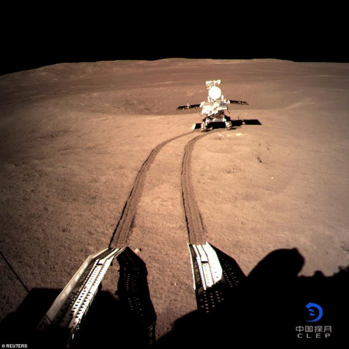 The Yutu-2 - or Jade Rabbit 2 - rover drove off its lander's ramp and onto the exterior of the moon's far side at 10:22pm Beijing time (2:22 pm GMT) on Thursday, about 12 hours after the Chinese spacecraft carrying it came to rest. China's space agency later posted a photos online, revealing the lunar rover several yards away from the spacecraft