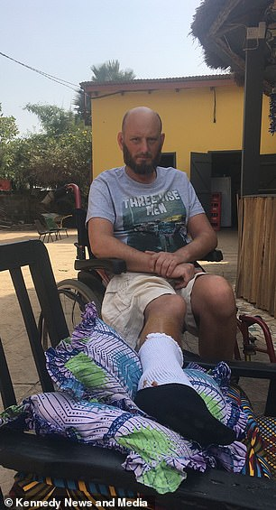 Mr Blurton is depicted in Gambia on Christmas Day 2017 - the day after he left the hospital after a period of ten days of antibiotic therapy