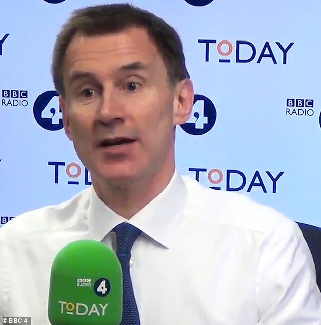 Mr Juncker's warning came as Jeremy Hunt (pictured today on Radio 4) warned MPs that killing off the Brexit deal could well mean no Brexit today as ministers brace to be 'smashed' in a Commons showdown next week