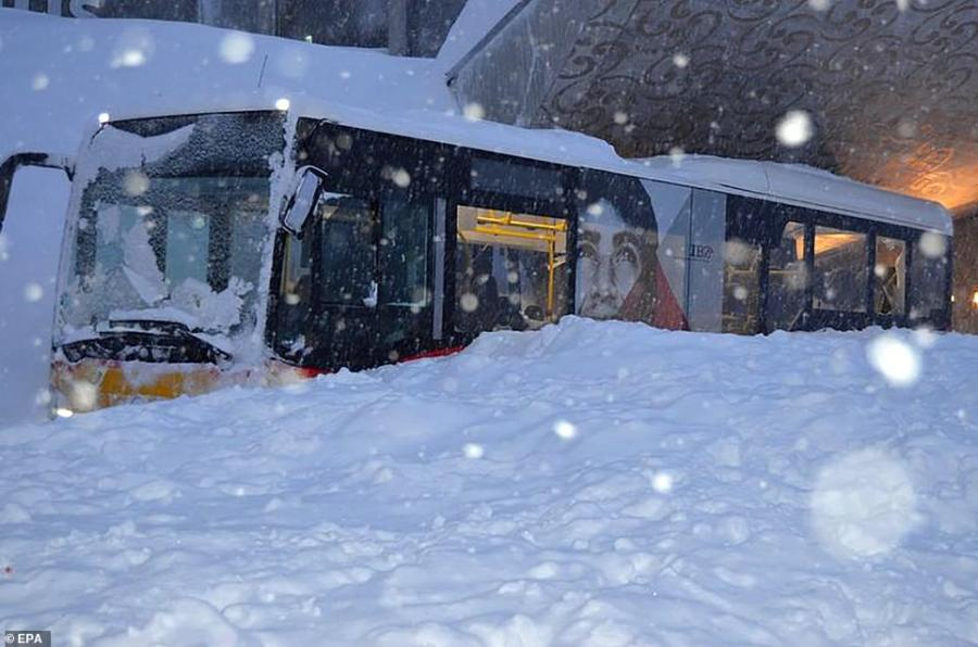 A bus was also left covered in snow outside the hotel entrance after the avalanche cascaded down a hillside in Hundwil, Switzerland