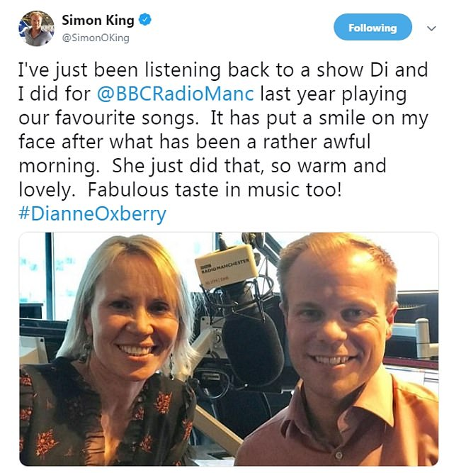 Friend and fellow weather presenter Simon King posted this image of the together after choking back tears on live radio today