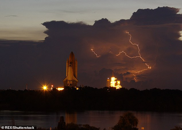 Florida and Texas are at the top of the list to experience the lightest strikes in 2018, according to new research. Although Florida is nicknamed the State of the Sun, it is famous for storms. Here, the space shuttle Discovery is seen on the launch pad in Florida with a rust storm visible in the background (image)