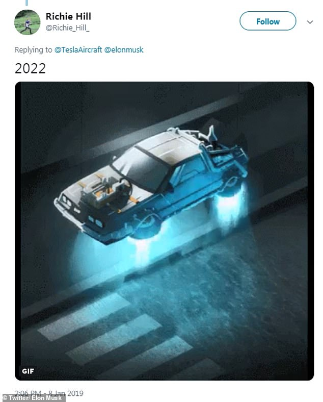 The original tweet, with a floating DeLorean from the hit movie