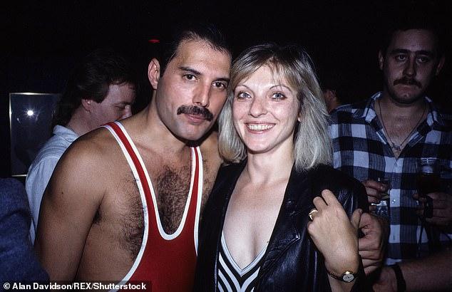 Freddie Mercury (left) and Mary Austin (right) at Freddie Mercury's 38th birthday party
