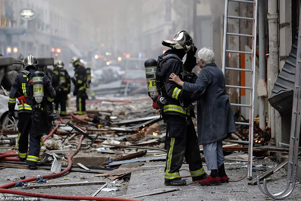 The explosion blasted rubble across the street outside the bakery shattering windows and destroying nearby cars