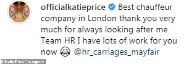 """""""Beste Firma!"""" Das Modell brachte Instagram mit einem Schnappschuss von £ 70.000 der Mercedes-Benz S-Klasse auf, als sie sich bei einem Chauffeurunternehmen bedankte, das sie Anfang der Woche zu ihrem Gerichtstermin mitgenommen hatte"""