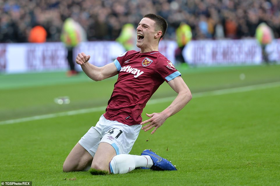 The youngster sat down on his knees and roared in honor of the home supporters after he had put West Ham on the wrong foot