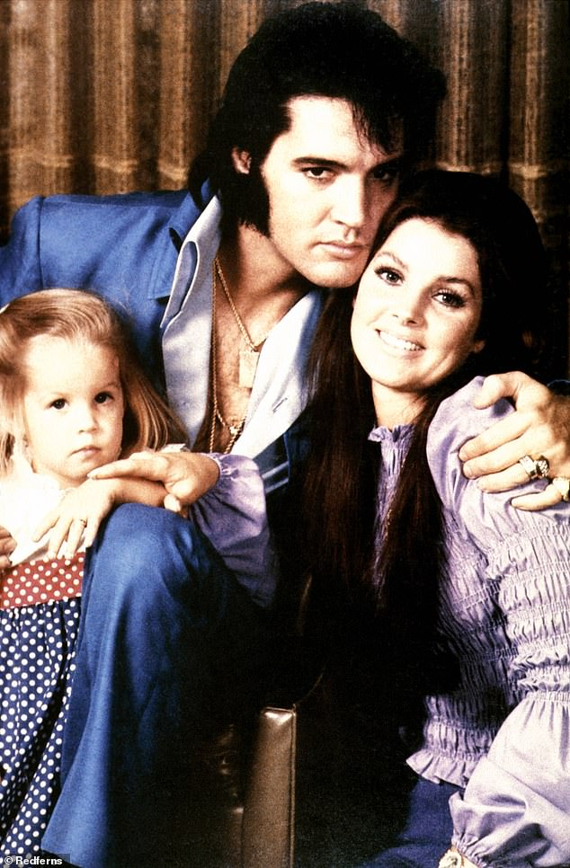 Over: Elvis and Priscilla, now 73, were divorced in 1973. Pictured with Lisa Marie in 1970