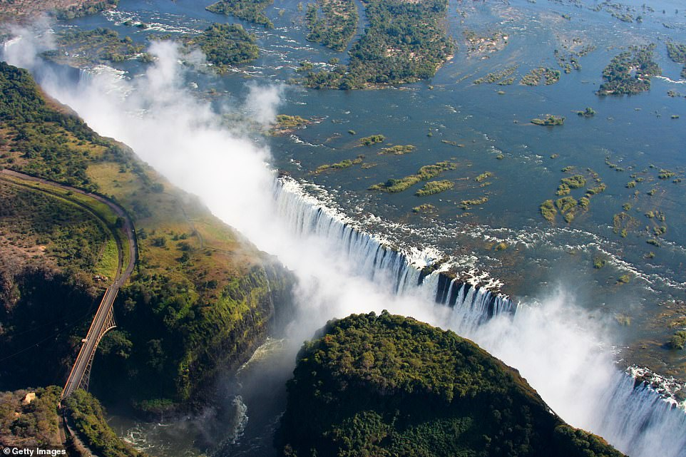 The mighty Victoria waterfalls on the Zambezi river in Zimbabwe, close to the border with Zambia. It claims the sixth place on the list