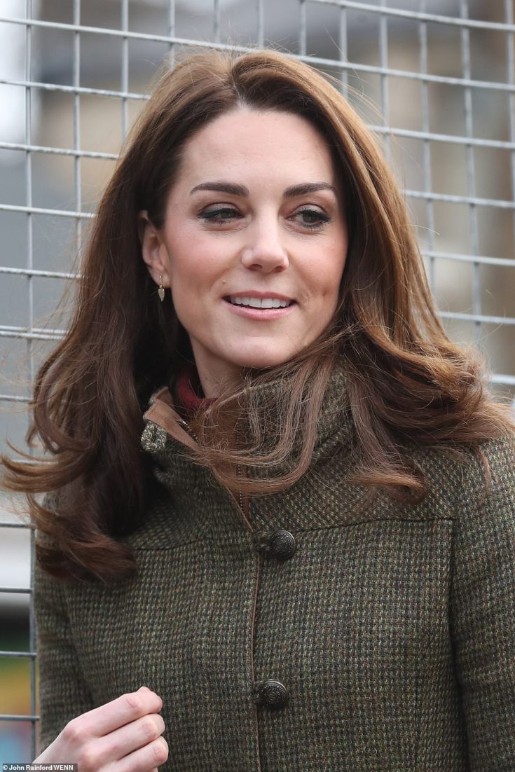 Country girl Kate, who turned 37 last week, cut a casual figure in a khaki tweed jacket by Irish brand Dubarry and as she arrived at the King Henry's Walk Garden in Islington