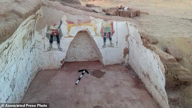 Archaeologists in Egypt have discovered two ancient tombs dating back to the Roman period in the country's Western Desert. Colorful funeral paintings in one of the ancient tombs are shown above