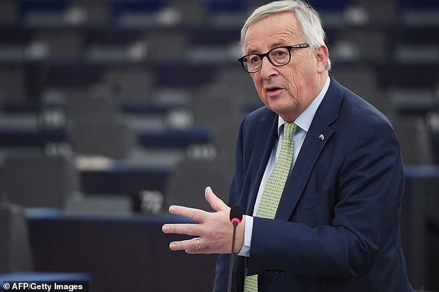 Jean-Claude Juncker (pictured in Strasbourg today) is making a dash back to Brussels for emergency Brexit meetings amid expectations Theresa May will suffer a devastating defeat tonight