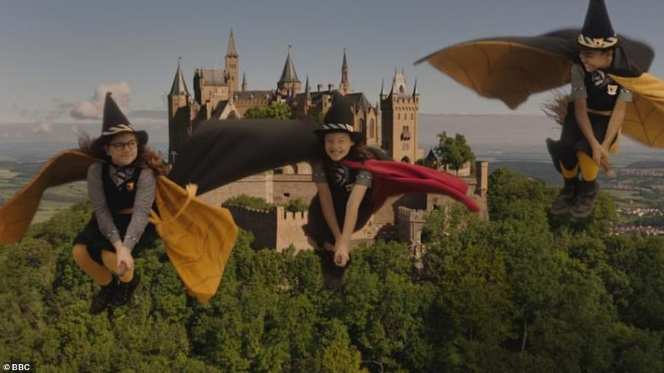 Broom with a view: A still from the CBBC series, with a Peckforton Castle-style castle in the background