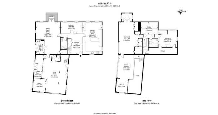 Floor plan: The property has four double bedrooms, two reception rooms, two bathrooms, a kitchen / diner, two storage rooms, an office and a covered garden