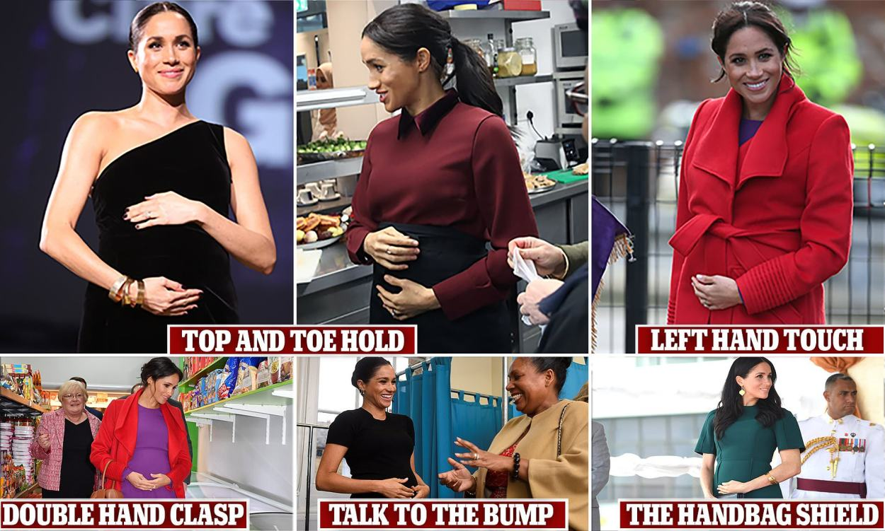 Why can't Meghan Markle keep her hands off her bump? Experts tackle the question | Daily Mail Online