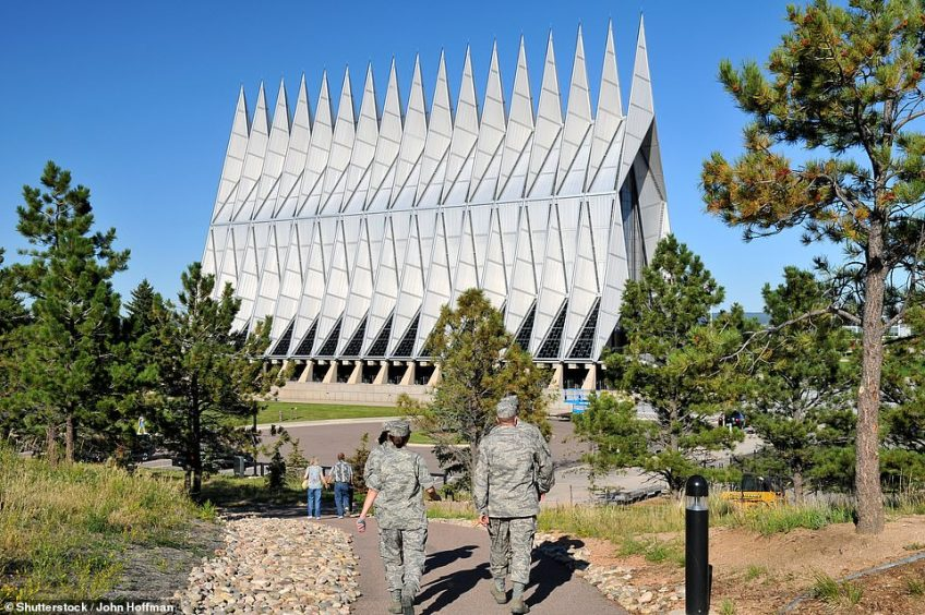 The distinctive looking United States Air Force Academy Chapel is located in Colorado Springs and opened in 1962. It was designed by Walter Netsch of Skidmore, Owings and Merrill of Chicago. The building is 150 feet high and cost $3.5million to build. The frame of the entire chapel is constructed out of 100 identical tetrahedrons, weighing five tons each